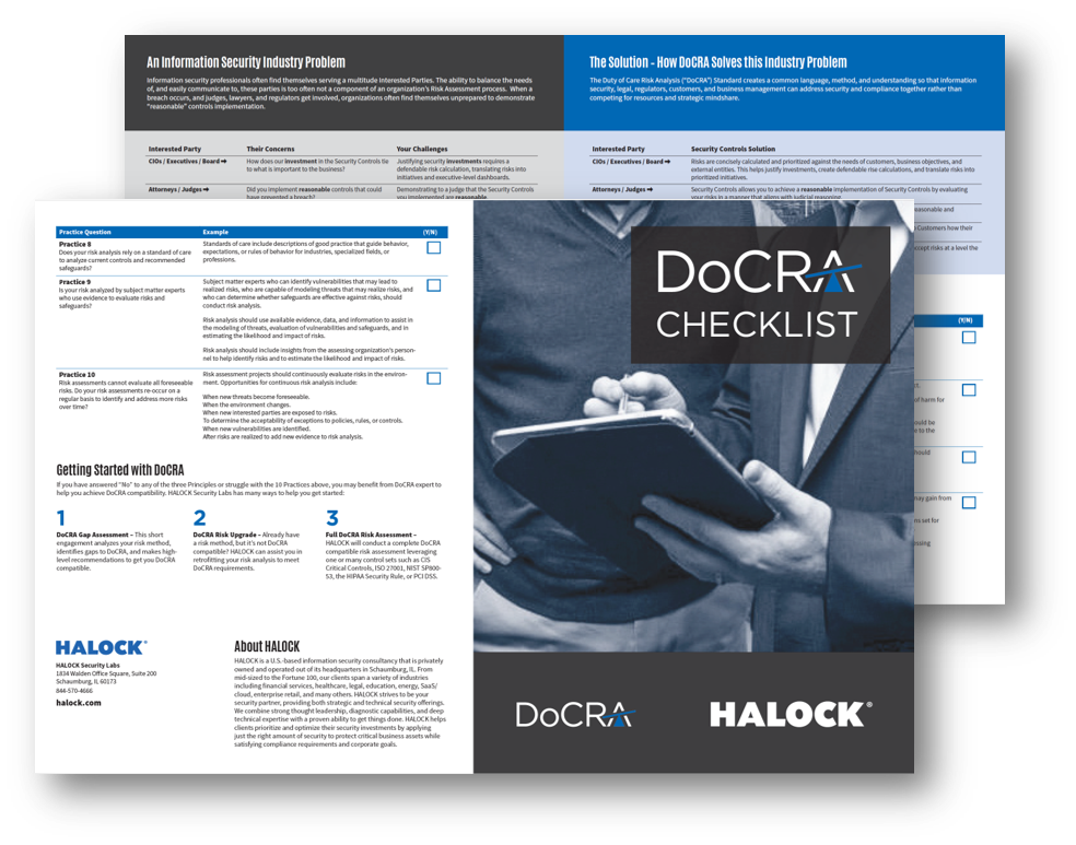Duty of Care Risk Analysis DoCRA for reasonable security,