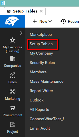 Connectwise Setup Tables