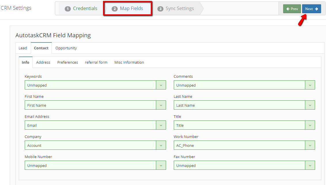 Autotask CRM map fields
